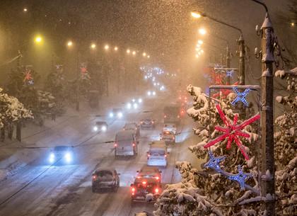 Вечерний снегопад в Харькове