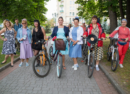 Велопарад «Девочки в ретро или леди на велосипеде» в Харькове (ФОТО)