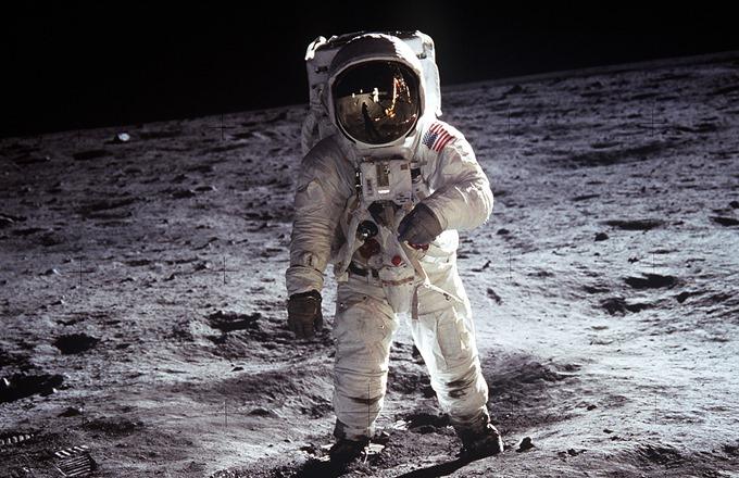 Астронавт Эдвин Олдрин на Луне 21 июля 1969 года
