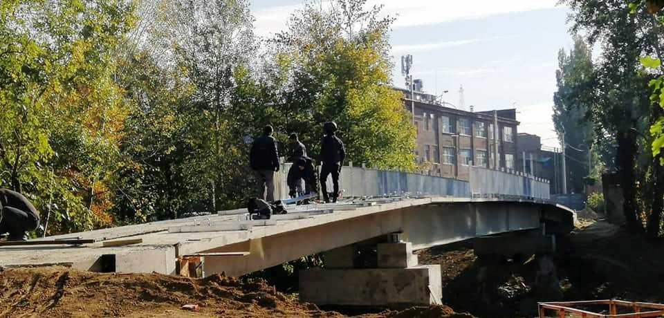 Реконструкция пешеходного моста через реку Лопань
